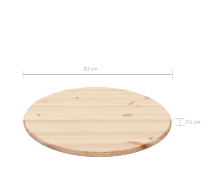 vidaXL Površina za mizo naravna borovina okrogla 25 mm 80 cm[4/4]