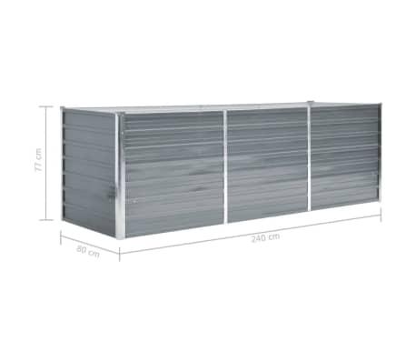 vidaXL Odlingslåda galvaniserat stål 240x80x77 cm grå[6/7]