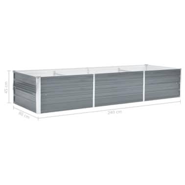 vidaXL Jardinera de jardín de acero galvanizado 240x80x45 cm gris[6/7]