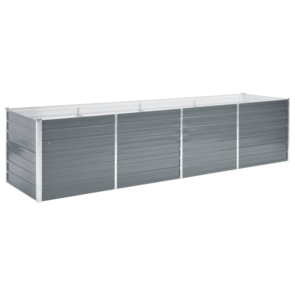 vidaXL Strat înălțat de grădină, gri, 320x80x77 cm, oțel galvanizat vidaxl.ro
