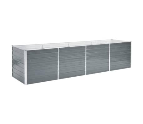 vidaXL Strat înălțat de grădină, gri, 320x80x77 cm, oțel galvanizat
