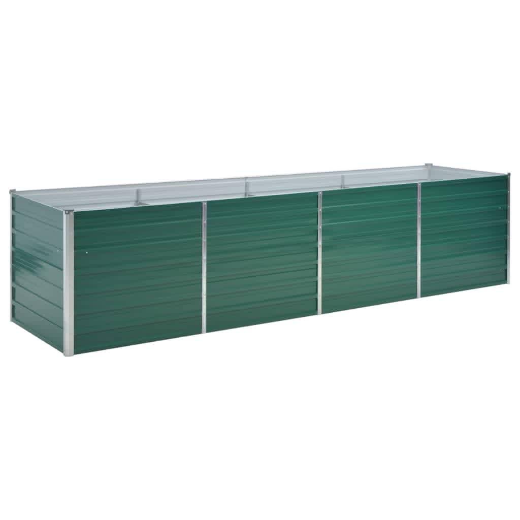 vidaXL Strat înălțat de grădină, verde, 320x80x77 cm, oțel galvanizat poza vidaxl.ro