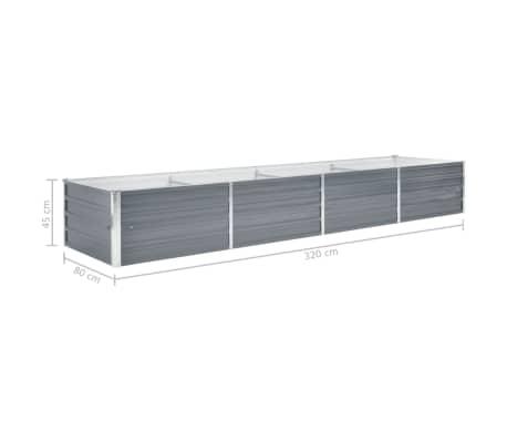 vidaXL Garden Planter Galvanised Steel 320x80x45cm Grey[6/7]