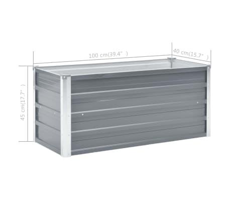 vidaXL Jardinera de jardín de acero galvanizado 100x40x45 cm gris[6/7]
