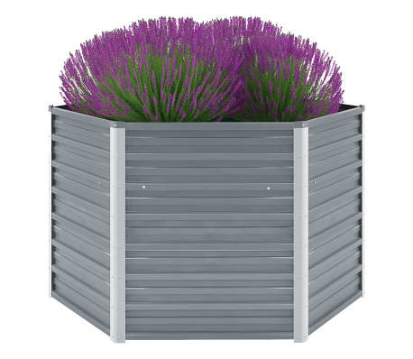 vidaXL Garden Raised Bed Galvanised Steel 129x129x77 cm Grey