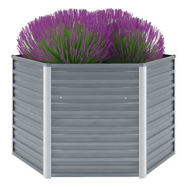 vidaXL Garden Planter Galvanised Steel 129x129x77 cm Grey[1/6]