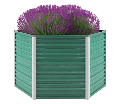 vidaXL Garden Raised Bed Galvanised Steel 129x129x77 cm Green
