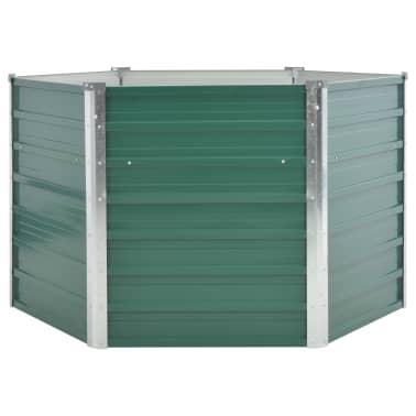 vidaXL dārza puķu kaste, 129x129x77 cm, cinkots tērauds, zaļa[2/6]