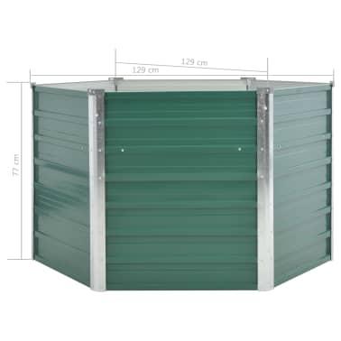 vidaXL dārza puķu kaste, 129x129x77 cm, cinkots tērauds, zaļa[6/6]