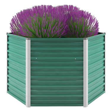 vidaXL dārza puķu kaste, 129x129x77 cm, cinkots tērauds, zaļa[1/6]