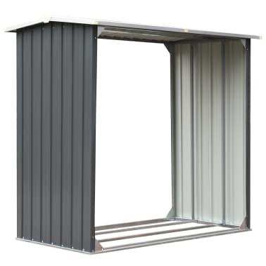 vidaXL Haardhoutschuur 172x91x154 cm gegalvaniseerd staal grijs[2/6]
