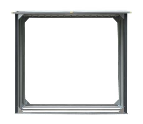 vidaXL Haardhoutschuur 172x91x154 cm gegalvaniseerd staal grijs[3/6]