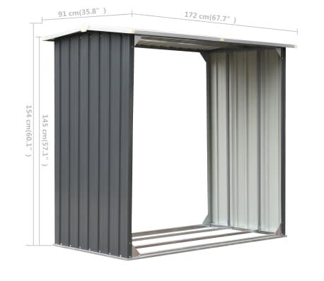 vidaXL Haardhoutschuur 172x91x154 cm gegalvaniseerd staal grijs[6/6]