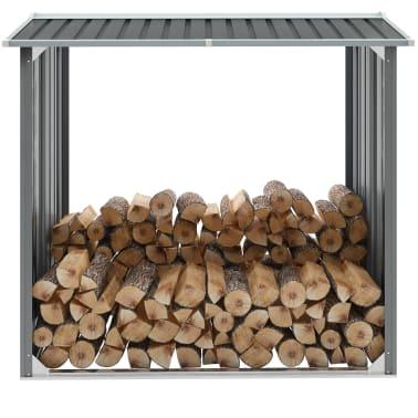 vidaXL Haardhoutschuur 172x91x154 cm gegalvaniseerd staal grijs[1/6]