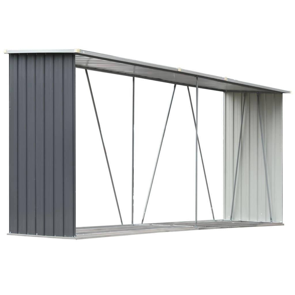 Afbeelding van vidaXL Haardhoutschuur 330x84x152 cm gegalvaniseerd staal grijs