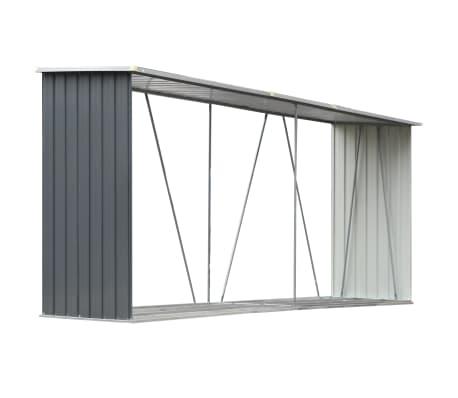 vidaXL Garden Log Storage Shed Galvanised Steel 330x84x152 cm Grey
