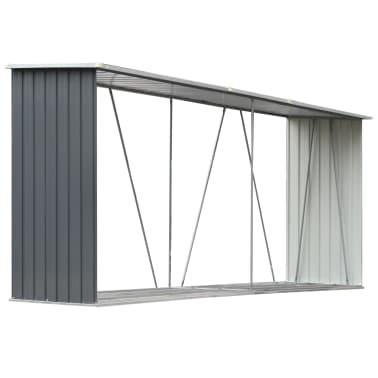 "vidaXL Garden Log Storage Shed Galvanized Steel 130""x33""x60"" Gray[2/6]"