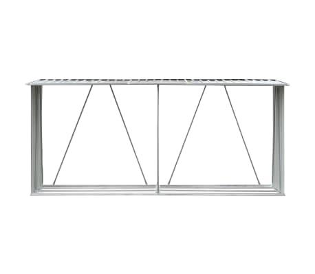 "vidaXL Garden Log Storage Shed Galvanized Steel 130""x33""x60"" Gray[3/6]"