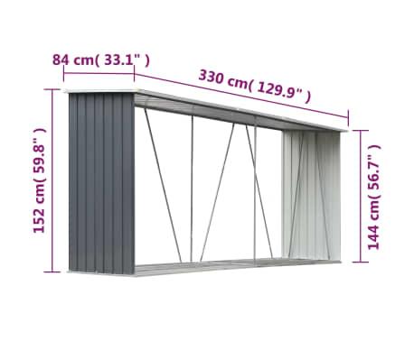 "vidaXL Garden Log Storage Shed Galvanized Steel 130""x33""x60"" Gray[6/6]"