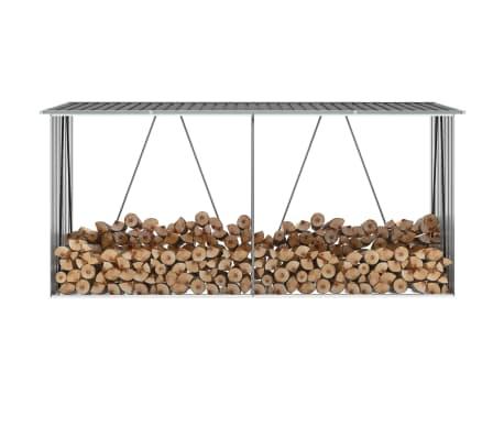 "vidaXL Garden Log Storage Shed Galvanized Steel 130""x33""x60"" Gray[1/6]"