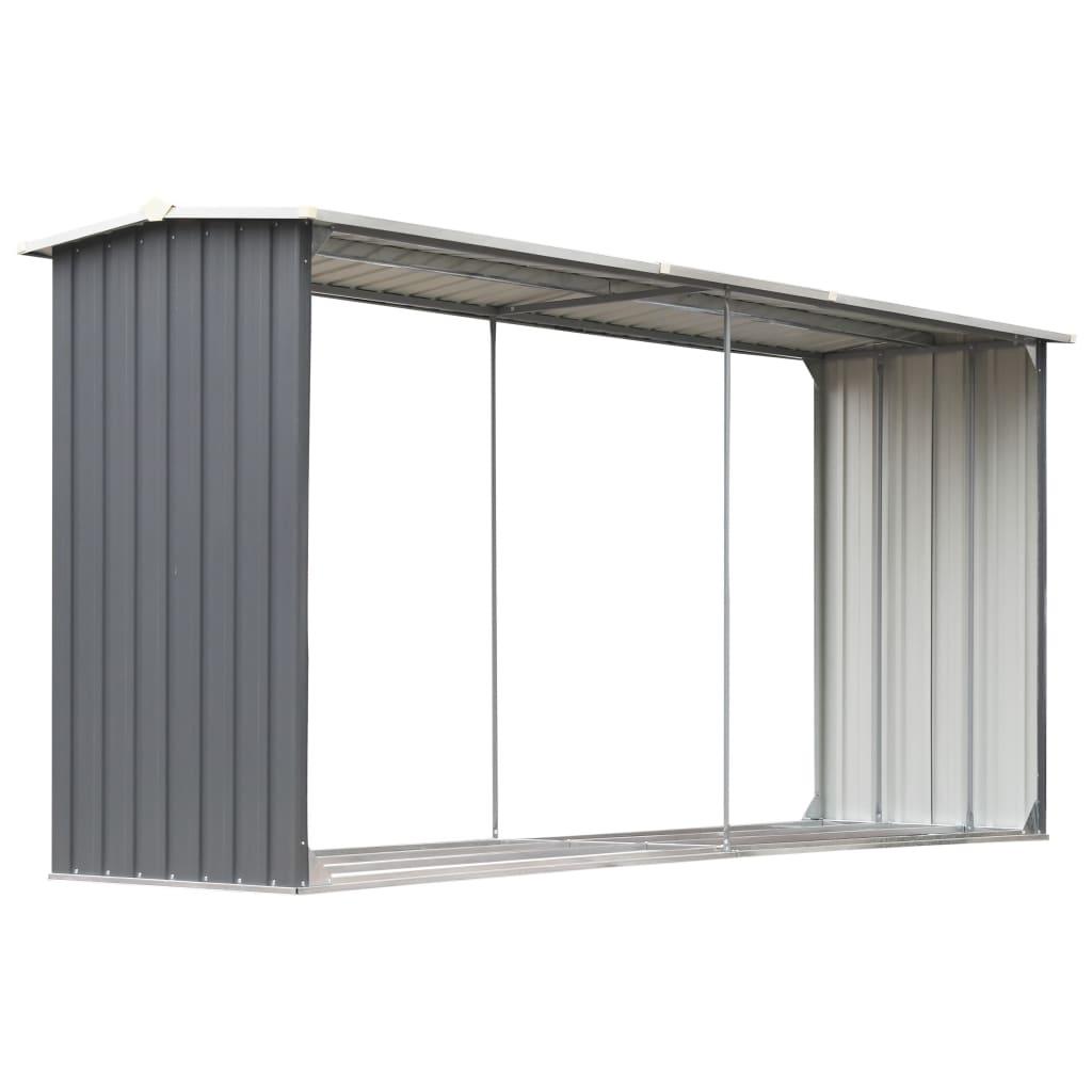 Afbeelding van vidaXL Haardhoutschuur 330x92x153 cm gegalvaniseerd staal grijs