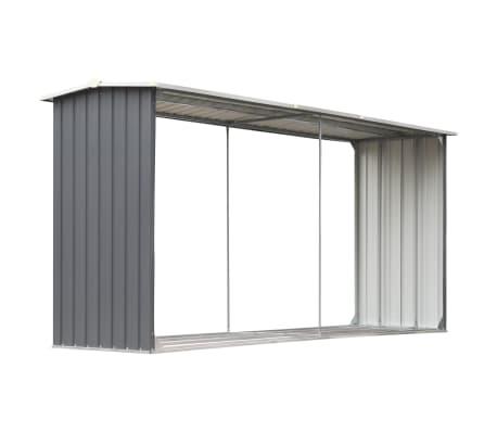 vidaXL Șopron depozitare lemne, oțel galvanizat, 330x92x153 cm, gri