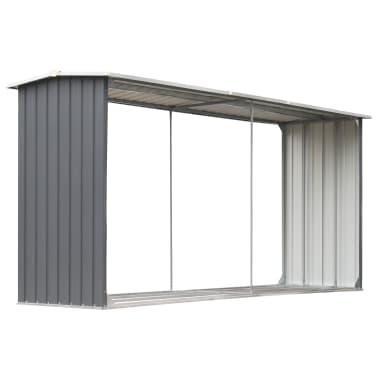 "vidaXL Garden Log Storage Shed Galvanized Steel 130""x36.2""x60.2"" Gray[2/6]"