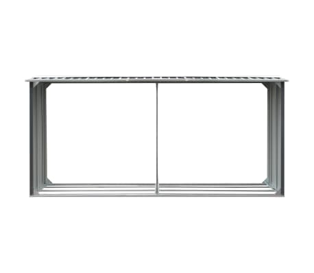 "vidaXL Garden Log Storage Shed Galvanized Steel 130""x36.2""x60.2"" Gray[3/6]"