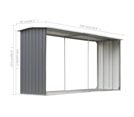 "vidaXL Garden Log Storage Shed Galvanized Steel 130""x36.2""x60.2"" Gray[6/6]"