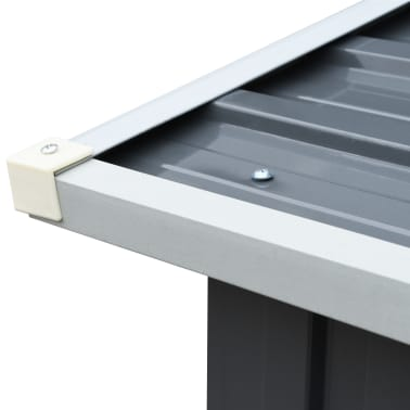 "vidaXL Garden Log Storage Shed Galvanized Steel 130""x36.2""x60.2"" Gray[5/6]"