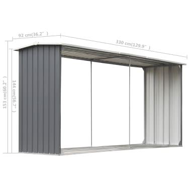 vidaXL Șopron depozitare lemne, oțel galvanizat, 330x92x153 cm, gri[6/6]