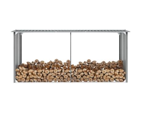 vidaXL Șopron depozitare lemne, oțel galvanizat, 330x92x153 cm, gri[1/6]
