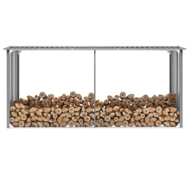 "vidaXL Garden Log Storage Shed Galvanized Steel 130""x36.2""x60.2"" Gray[1/6]"