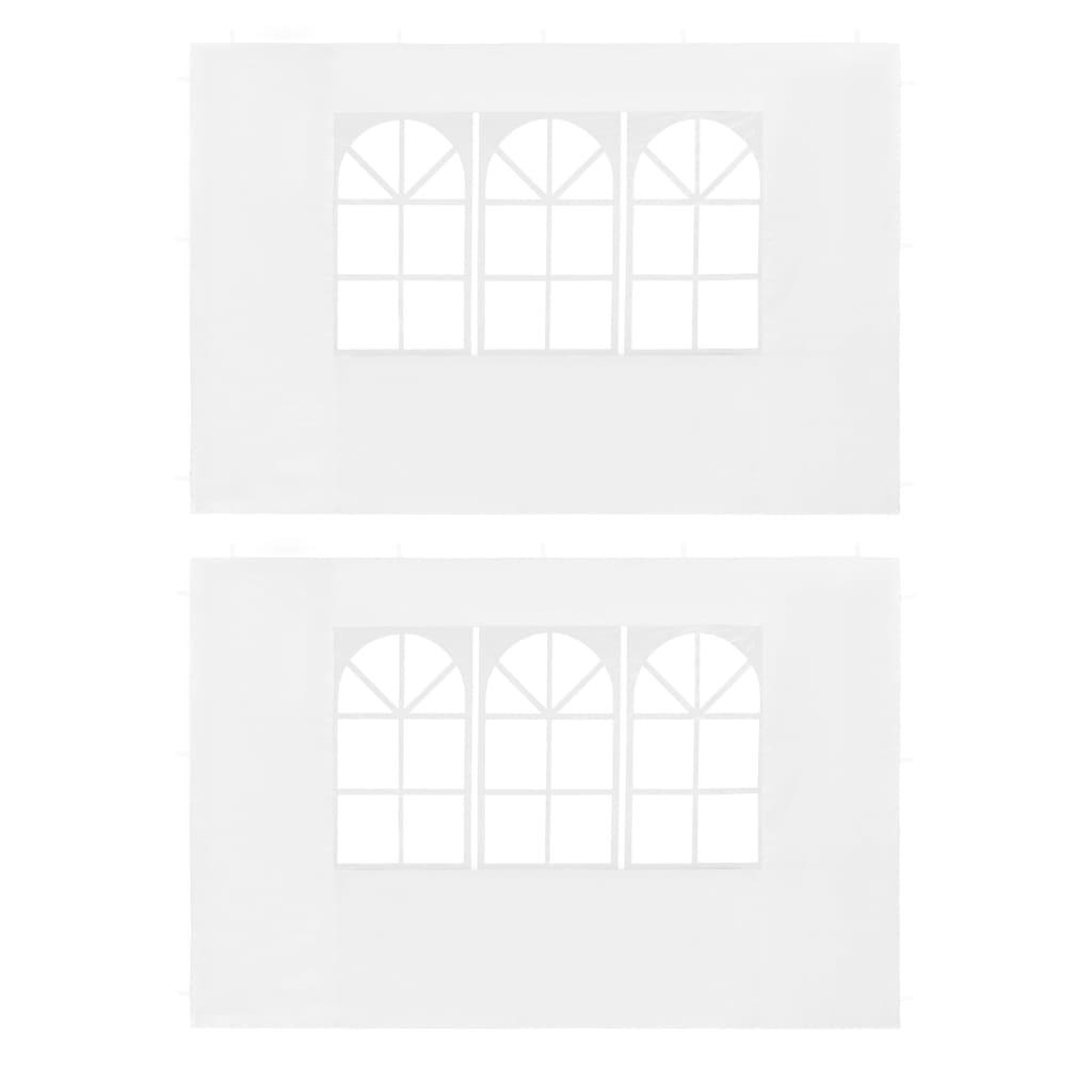 vidaXL Boční stěna k party stanu 2 ks s oknem PE bílá