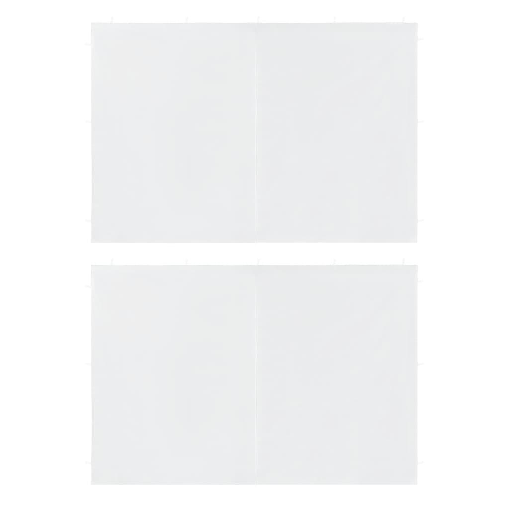 vidaXL Τοιχώματα Τέντας Εκδηλώσεων 2 τεμ. Λευκά από PE με Φερμουάρ