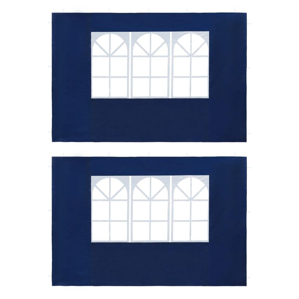 vidaXL Τοιχώματα Τέντας Εκδηλώσεων 2 τεμ. Μπλε από PE με Παράθυρο