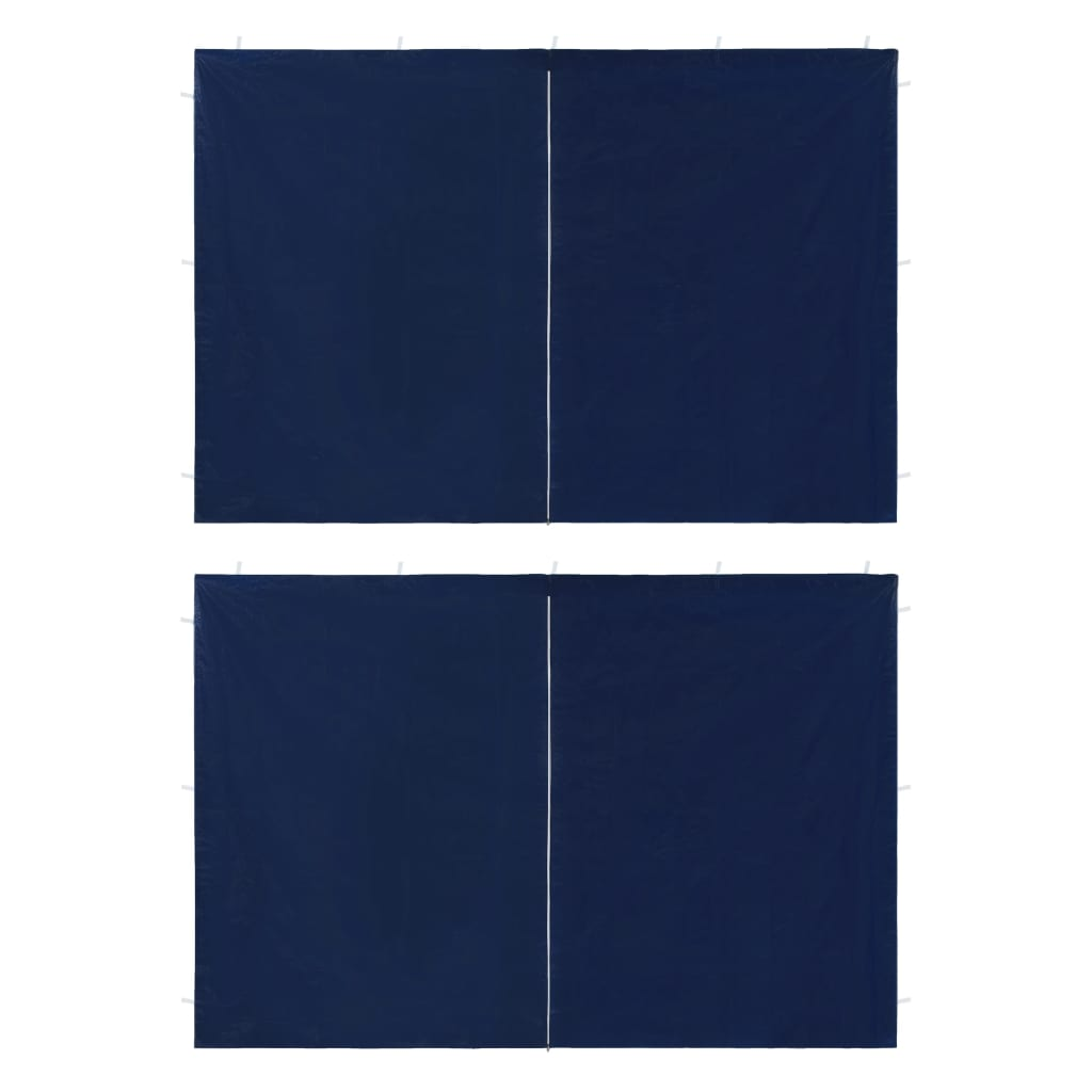 vidaXL Perete lateral cort petrecere, 2 buc., albastru, PE, cu fermoar