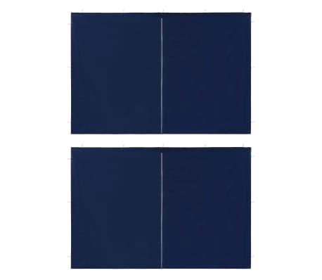 vidaXL Party Tent Sidewall 2 pcs with Zipper PE Blue