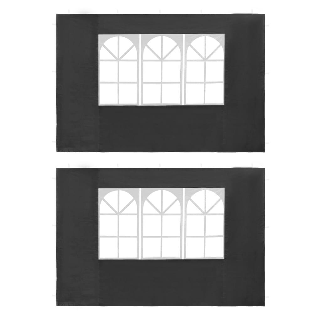 vidaXL Τοιχώματα Τέντας Εκδηλώσεων 2 τεμ. Ανθρακί από PE με Παράθυρο
