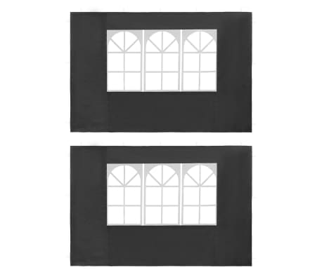 vidaXL Partyzelt-Seitenwände 2 Stück mit Fenster PE Anthrazit[1/3]