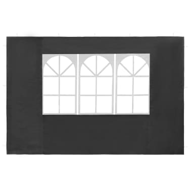vidaXL Partyzelt-Seitenwände 2 Stück mit Fenster PE Anthrazit[2/3]