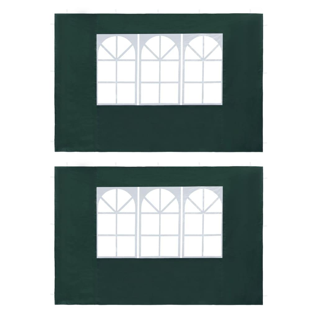 vidaXL Boční stěna k party stanu 2 ks s oknem PE zelená