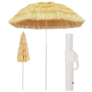 vidaXL Suncobran za plažu u havajskom stilu 180 cm prirodni
