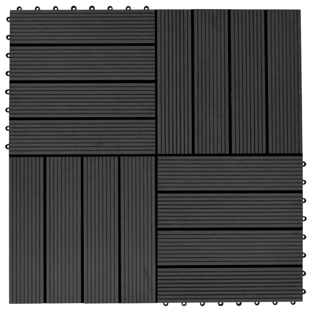 Terasové dlaždice z dřevoplastu 11 ks 30 x 30 cm 1 m² černé