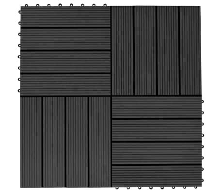 vidaXL 11 бр декинг плочки, WPC, 30x30 см, 1 кв.м., черни[1/6]