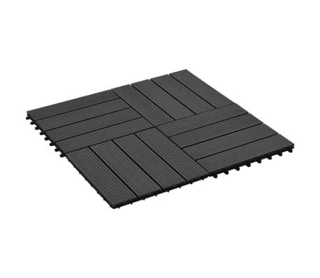 vidaXL 11 бр декинг плочки, WPC, 30x30 см, 1 кв.м., черни[2/6]
