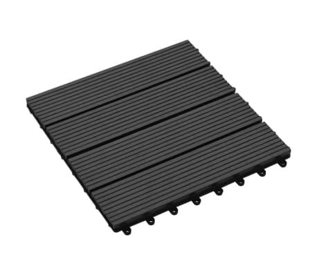 vidaXL 11 бр декинг плочки, WPC, 30x30 см, 1 кв.м., черни[3/6]