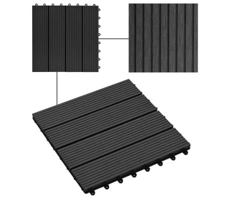 vidaXL 11 бр декинг плочки, WPC, 30x30 см, 1 кв.м., черни[4/6]