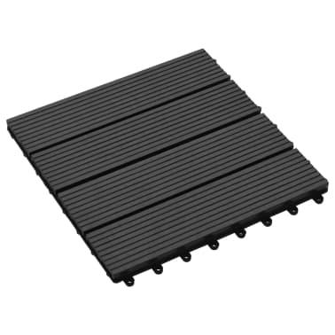 vidaXL Terrassebord 11 stk WPC 30x30 cm 1 kvm svart[3/6]