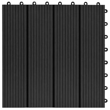 vidaXL 11 бр декинг плочки, WPC, 30x30 см, 1 кв.м., черни[5/6]